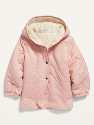 KIDS Reversible Quilted/Sherpa Hooded Liner Jacket for Toddler Girls
