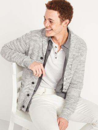 MEN Textured Shawl-Collar Button-Front Cardigan Sweater for Men