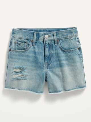 KIDS Extra High-Waisted Sky-Hi Distressed Cut-Off Jean Shorts for Girls