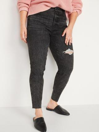 WOMEN High-Waisted Rockstar Super Skinny Ripped Gray Ankle Jeans for Women