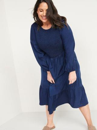 WOMEN Smocked Chambray Fit & Flare Plus-Size Midi Dress