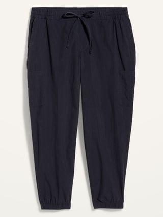 WOMEN High-Waisted Poplin Tapered Jogger Plus-Size Cargo Pants