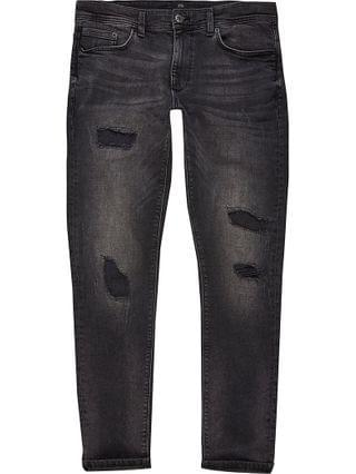 MEN Big & Tall black ripped Sid skinny jeans