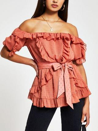 WOMEN Rust short sleeve soft frill bardot top