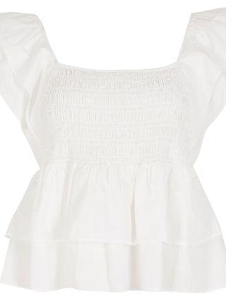 WOMEN Petite white short sleeve frill poplin top