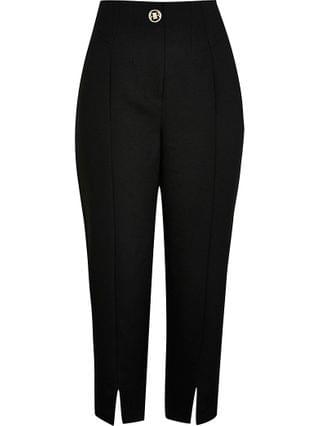 WOMEN Petite black split front cigarette trousers