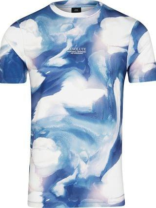 MEN Blue abstract print muscle fit t-shirt