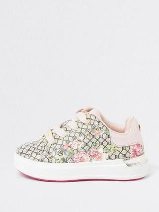KIDS Mini girls brown RI floral monogram plimsole