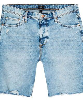 MEN Big & Tall blue slim fit raw hem shorts