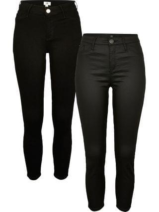 WOMEN Petite Black Molly mid rise skinny jeans