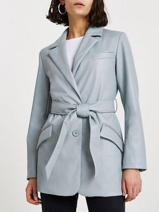 WOMEN Green faux leather dad blazer
