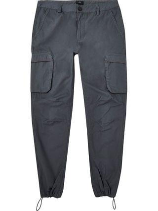 MEN Grey cargo utility skinny fit trousers