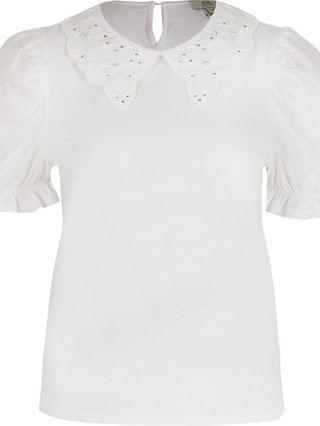 WOMEN Petite white short sleeve puff sleeve t shirt