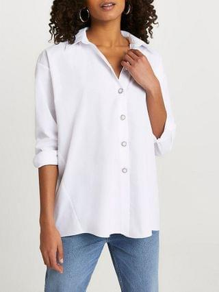 WOMEN White long sleeve bow back shirt