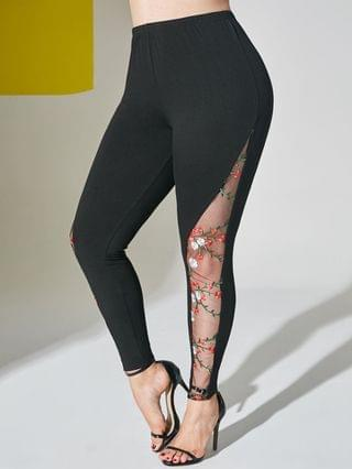 WOMEN Mesh Panel Floral Embroidered Plus Size Leggings