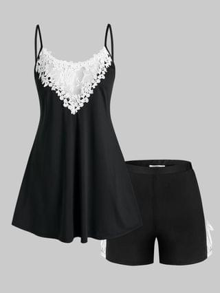WOMEN Plus Size Lace Panel Pajama Cami Top and Shorts Set