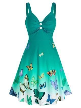 WOMEN Ombre Color Butterfly Print Ruched Dress
