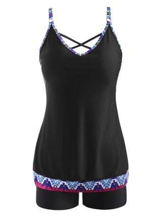 WOMEN Ethnic Printed Criss Cross Lattice Back Tankini Swimwear