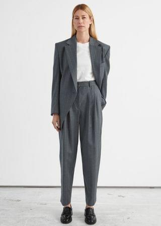 WOMEN Tailored Tapered Pinstripe Wool Trousers