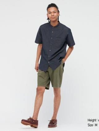 MEN linen cotton short-sleeve shirt