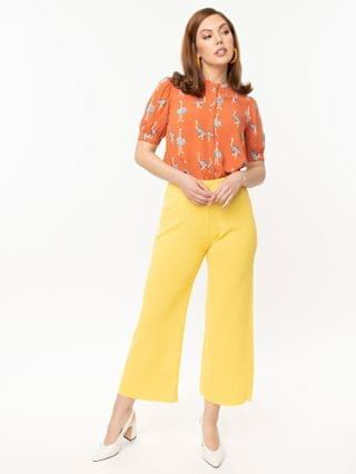 WOMEN Retro Style Yellow Rib Knit Wide Leg Pants