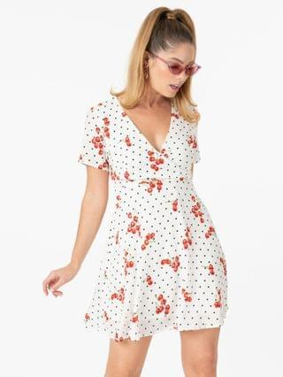 WOMEN Retro White & Black Polka Dot Cherry Print Fit & Flare Dress