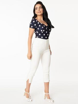 WOMEN Unique Vintage White Rachelle Capri Pants