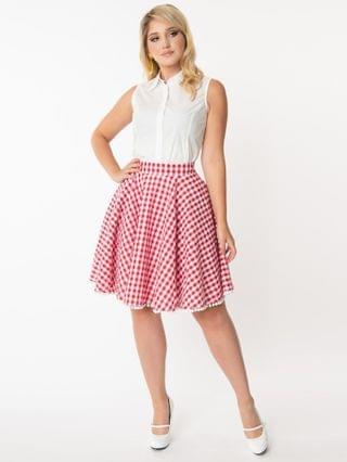 WOMEN Smak Parlour Red & White Gingham Scene Flare Skirt