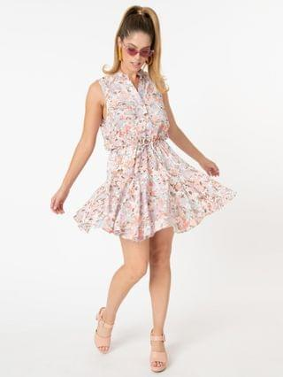 WOMEN Retro Style Pastel Floral Print Fit & Flare Dress