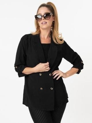 WOMEN Black Double Breasted Oversized Blazer