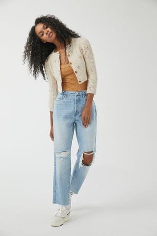 WOMEN BDG High-Waisted Slim Straight Jean Ripped Light Wash