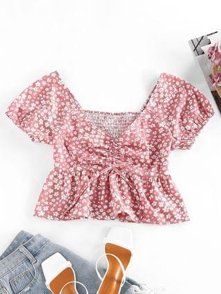 WOMEN Ditsy Print Smocked Cinched Peplum Blouse - Rosy Brown S