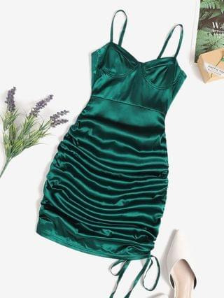 WOMEN Cinched Cupped Mini Bodycon Dress - Deep Green S