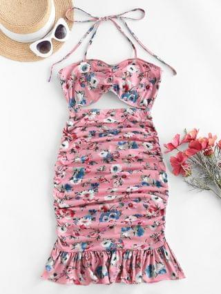 WOMEN Halter Floral Cutout Flounce Ruched Slinky Dress - Flamingo Pink S