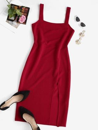 WOMEN Slit Square Neck Midi Dress - Red M