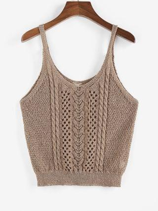 WOMEN Solid Cable Pointelle Knit Plus Size Sweater Vest - Coffee 3xl