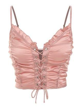WOMEN Ruched Lace Up Smocked Crop Top - Rose Xl