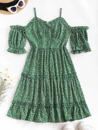 WOMEN Ditsy Print Frilled Cold Shoulder Tiered Dress - Deep Green M