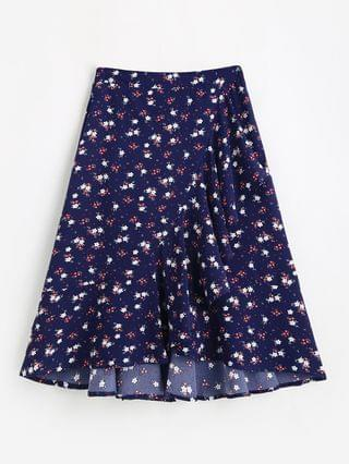 WOMEN Flounce Hem Flower Print Midi Skirt - Deep Blue S
