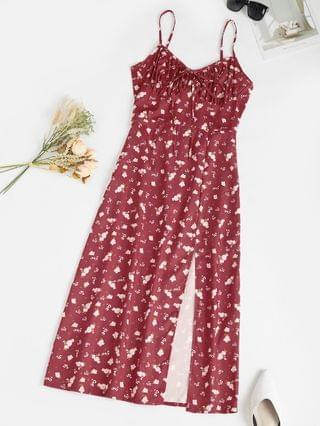 WOMEN Spaghetti Strap Ditsy Print Slit Midaxi Bustier Dress - Deep Red S