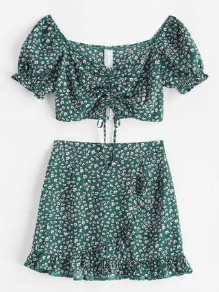 WOMEN Ditsy Floral Cinched Sweetheart Two Piece Dress - Deep Green Xl