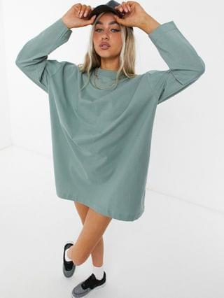 WOMEN COLLUSION long sleeve mini t-shirt dress in pale green