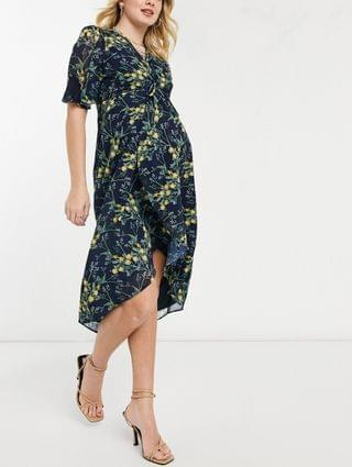 WOMEN Hope & Ivy Maternity kimono knot front midi dress in navy floral
