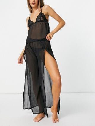 WOMEN Bluebella Celine chiffon and lace cami and pants set in black
