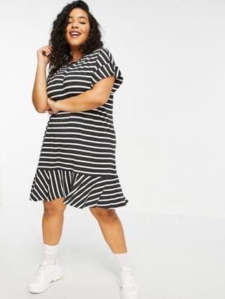 WOMEN Simply Be T-shirt dress with frill hem in black and white stripe