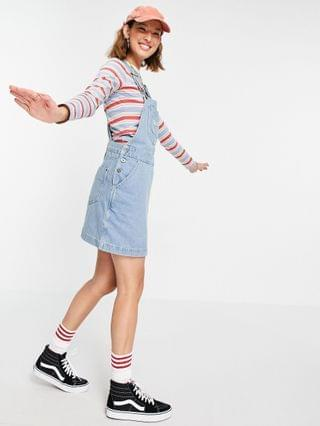 WOMEN Kickers mini overall dress with embroidery logo in vintage wash denim