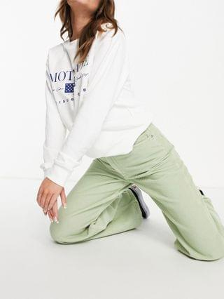 WOMEN high rise relaxed dad jeans in sage corduroy