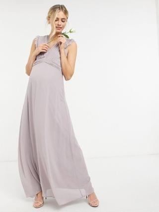 WOMEN TFNC Maternity bridesmaid lace trim plunge front maxi dress in gray
