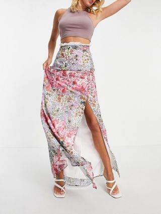 WOMEN Hope & Ivy maxi skirt with lace trim and thigh split in printed floral - part of a set