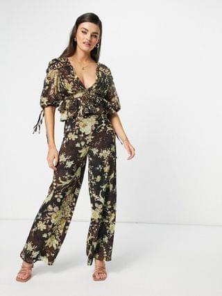 WOMEN coordinating wide leg pants with lace insert detail in multi floral